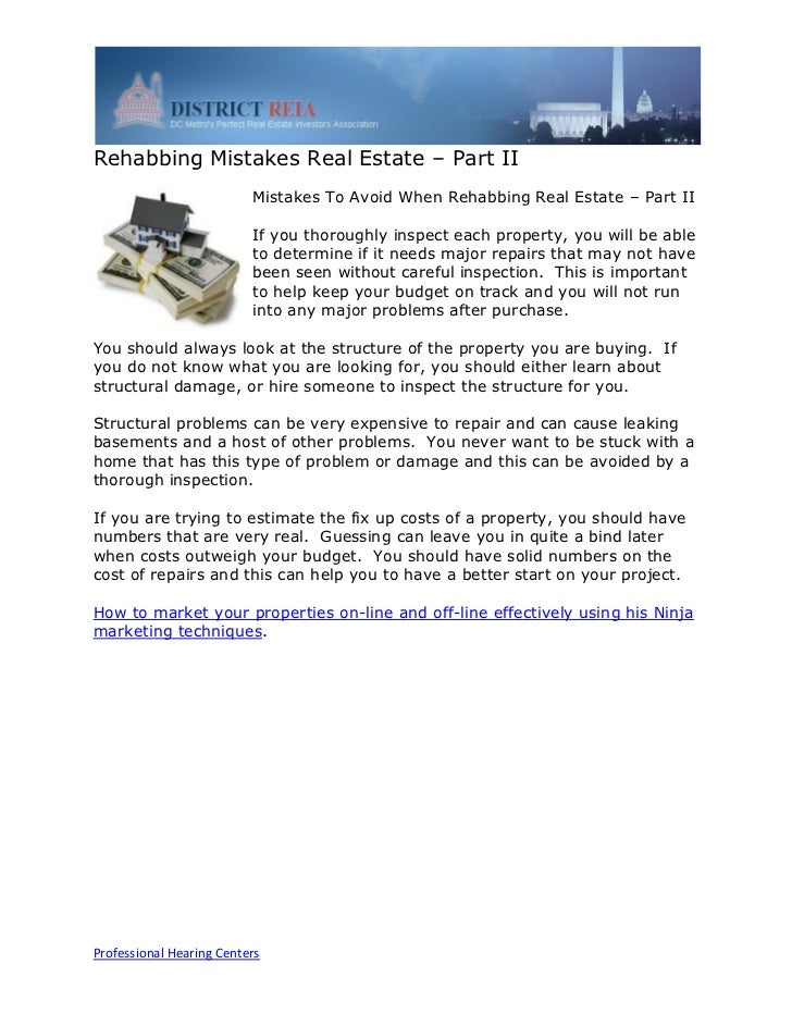 Rehabbing Mistakes Real Estate – Part II                          Mistakes To Avoid When Rehabbing Real Estate – Part II  ...