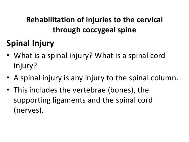 Rehabilitation of injuries to the cervical through coccygeal spine Spinal Injury • What is a spinal injury? What is a spin...