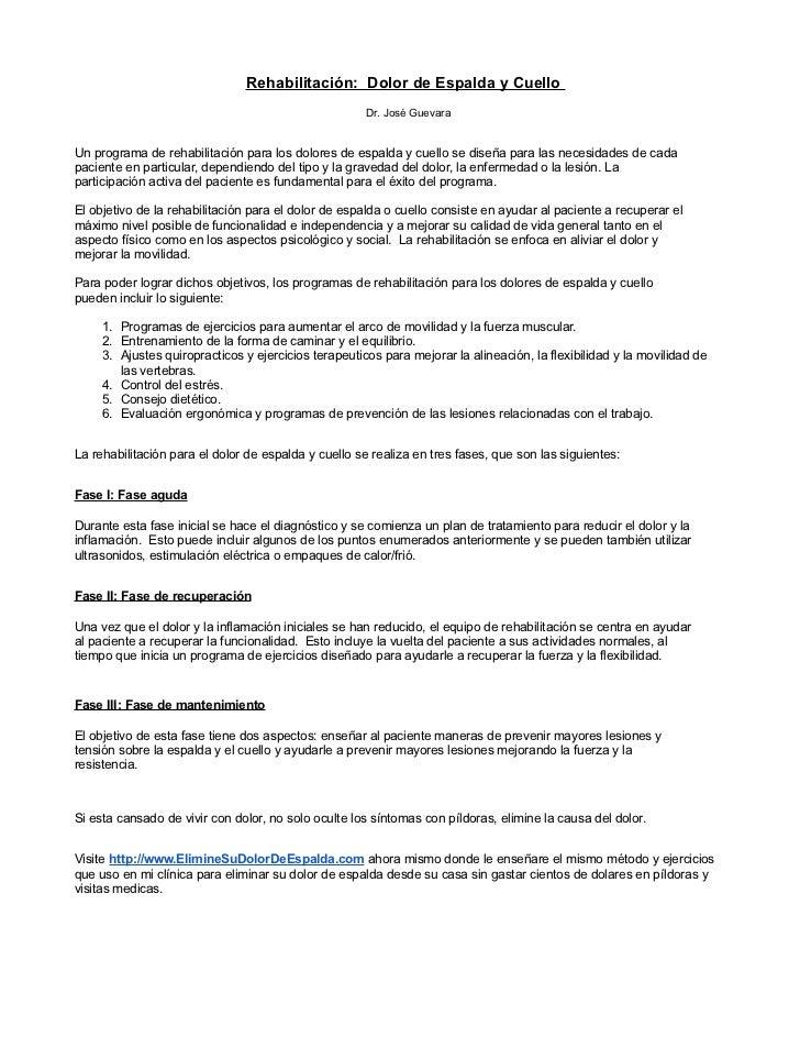 Rehabilitación: Dolor de Espalda y Cuello                                                      Dr. José GuevaraUn programa...