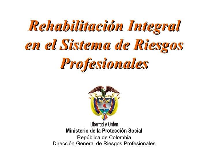 Rehabilitación Integral en el Sistema de Riesgos Profesionales Ministerio de la Protección Social República de Colombia Di...