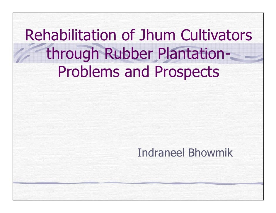 Rehabilitation of Jhum Cultivators   through Rubber Plantation-     Problems and Prospects                     Indraneel B...