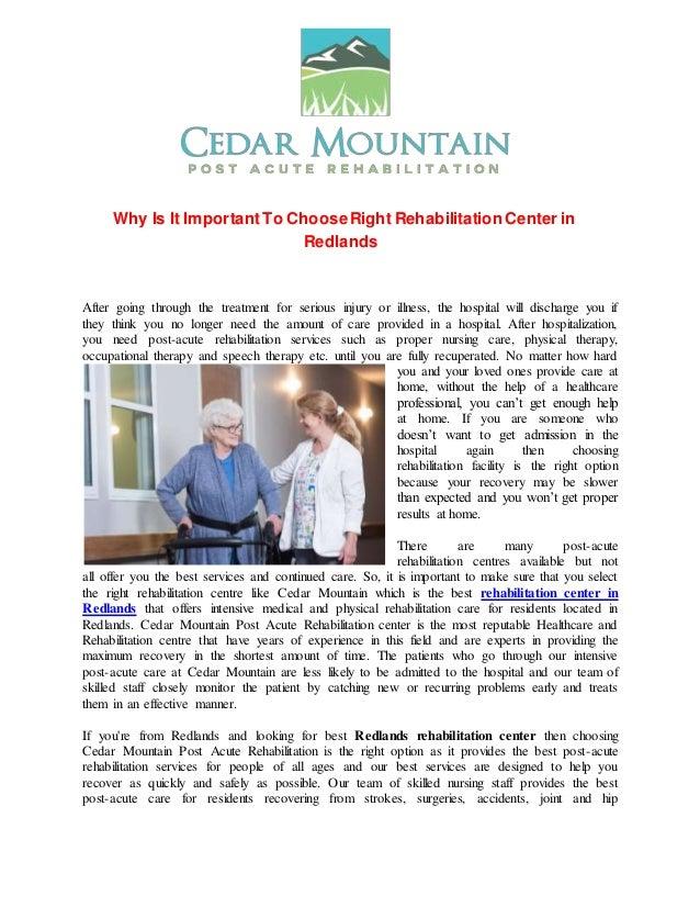 Rehabilitation center in redlands