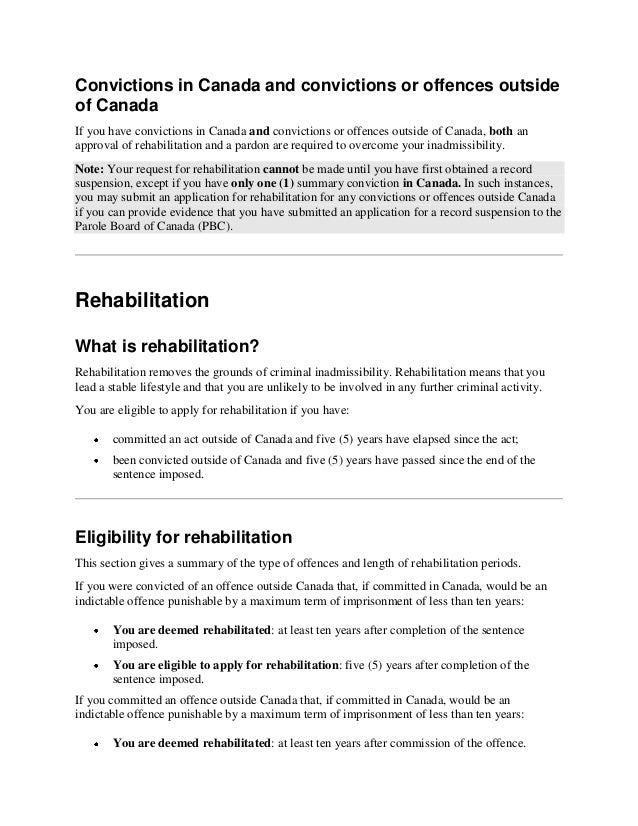 Rehabilitation for persons who are inadmissible to canada because of …