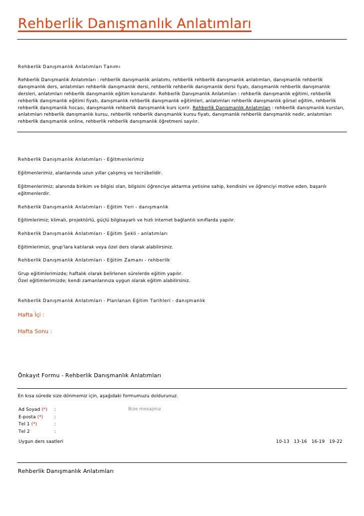 Rehberlik Danışmanlık AnlatımlarıRehberlik Danışmanlık Anlatımları TanımıRehberlik Danışmanlık Anlatımları : rehberlik dan...