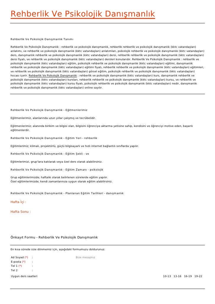 Rehberlik Ve Psikolojik DanışmanlıkRehberlik Ve Psikolojik Danışmanlık TanımıRehberlik Ve Psikolojik Danışmanlık : rehberl...