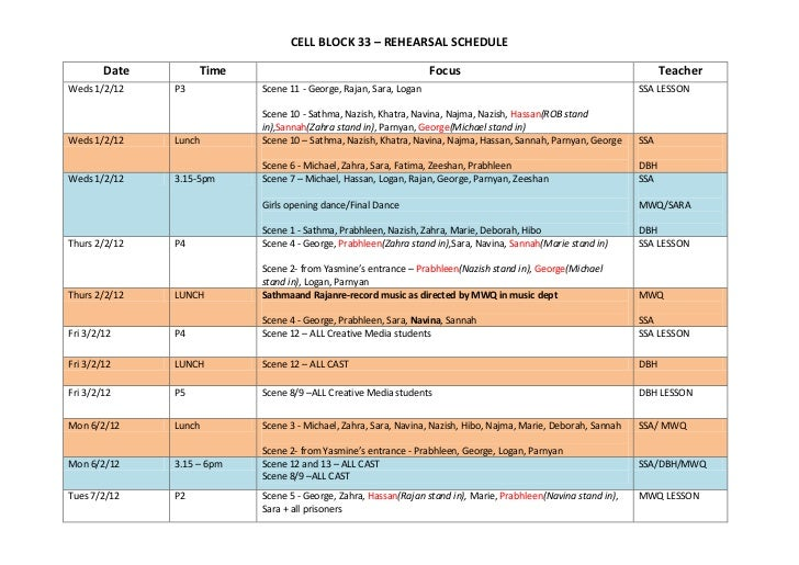 CELL BLOCK 33 – REHEARSAL SCHEDULE        Date        Time                                            Focus               ...