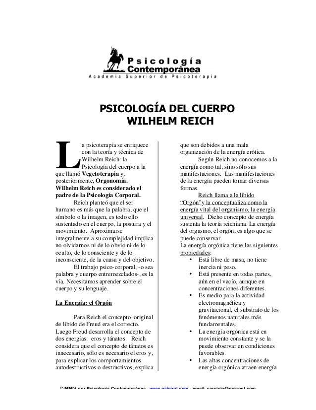 © MMIV por Psicología Contemporánea. www.psicont.com - email: servicio@psicont.com PSICOLOGÍA DEL CUERPO WILHELM REICH a p...