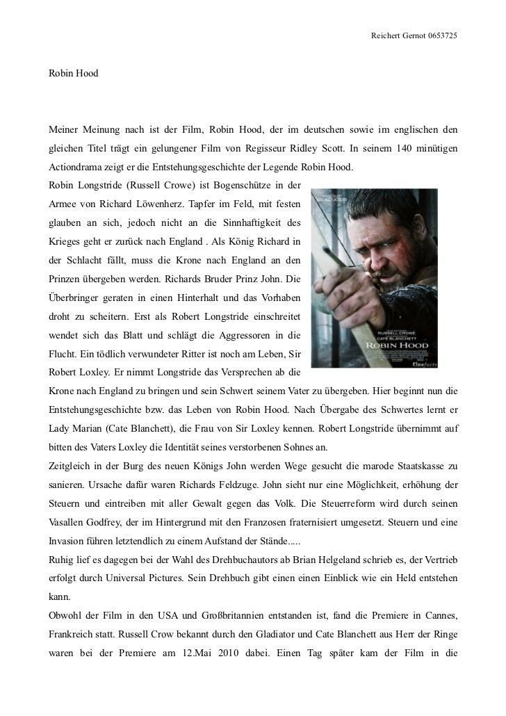 Reichert Gernot 0653725Robin HoodMeiner Meinung nach ist der Film, Robin Hood, der im deutschen sowie im englischen dengle...