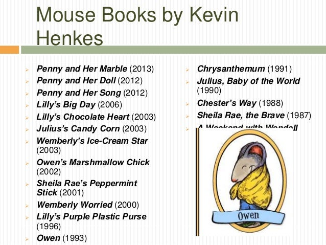 Kevin Henkes Author Study By Kate Reid