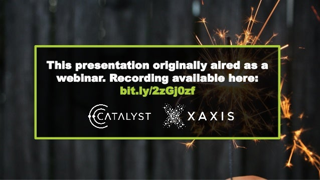 This presentation originally aired as a webinar. Recording available here: bit.ly/2zGj0zf