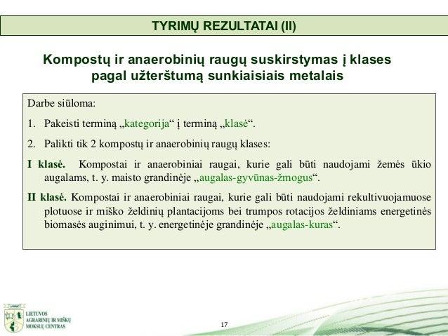 17 Kompostų ir anaerobinių raugų suskirstymas į klases pagal užterštumą sunkiaisiais metalais Darbe siūloma: 1. Pakeisti t...