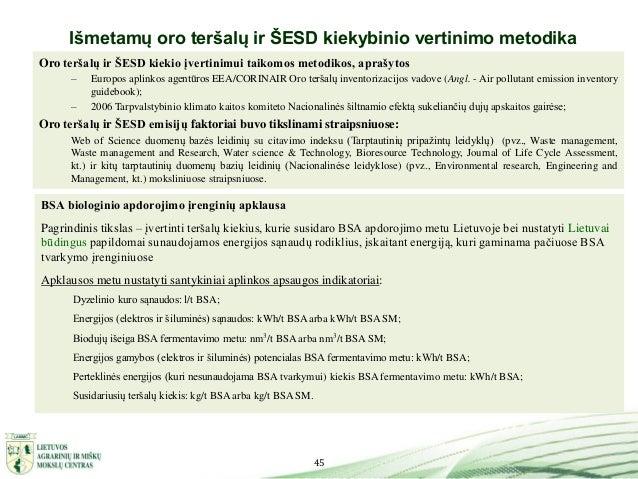 45 Išmetamų oro teršalų ir ŠESD kiekybinio vertinimo metodika Oro teršalų ir ŠESD kiekio įvertinimui taikomos metodikos, a...