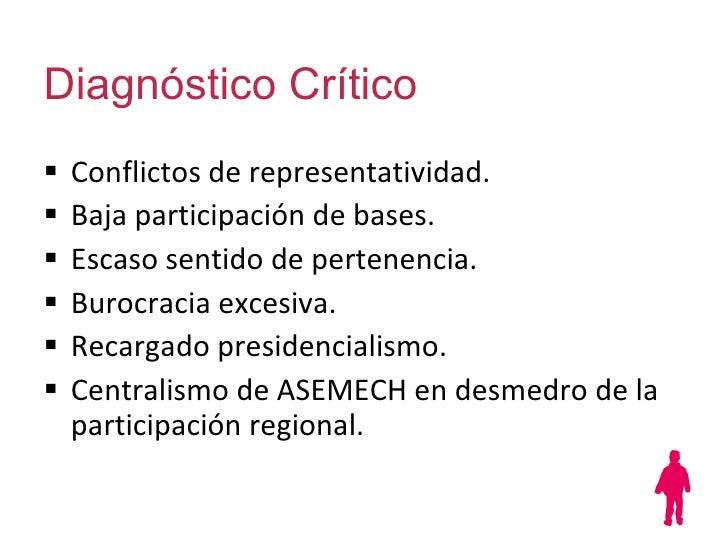 Diagnóstico Crítico <ul><li>Conflictos de representatividad. </li></ul><ul><li>Baja participación de bases.  </li></ul><ul...