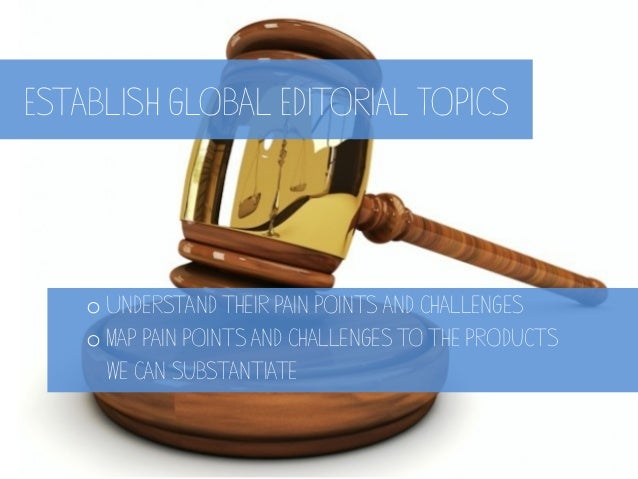 Establish Global Editorial Topics oUnderstand their pain points and challenges oMap pain points and challenges to the pr...