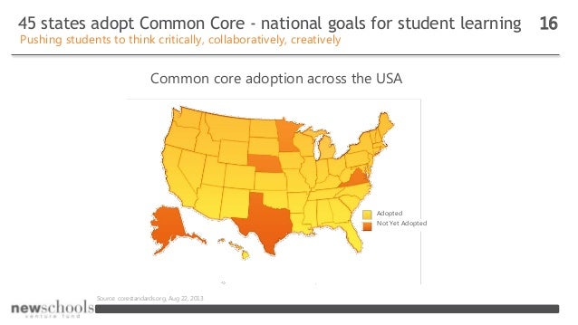45 states adopt Common Core - national goals for student learning 16 Pushing students to think critically, collaboratively...