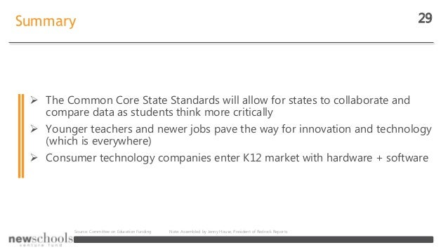 Summary 29  The Common Core State Standards will allow for states to collaborate and compare data as students think more ...