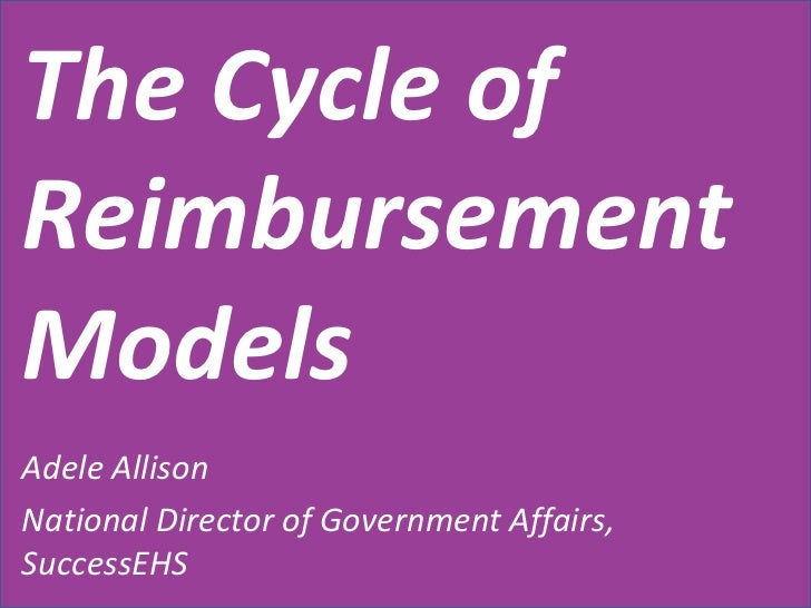The Cycle of Reimbursement Models Adele Allison National Director of Government Affairs, SuccessEHS