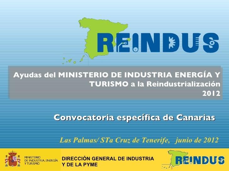 Ayudas del MINISTERIO DE INDUSTRIA ENERGÍA Y                 TURISMO a la Reindustrialización                             ...