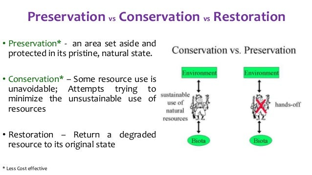 ecosystem preservation versus conservation Ecosystem preservation versus conservation university of phoenix sci 256 people, science, and the environment  abstract  earth was created of many different ecosystems each one has a powerful combination of plants, animals, and microorganism that are influenced by.