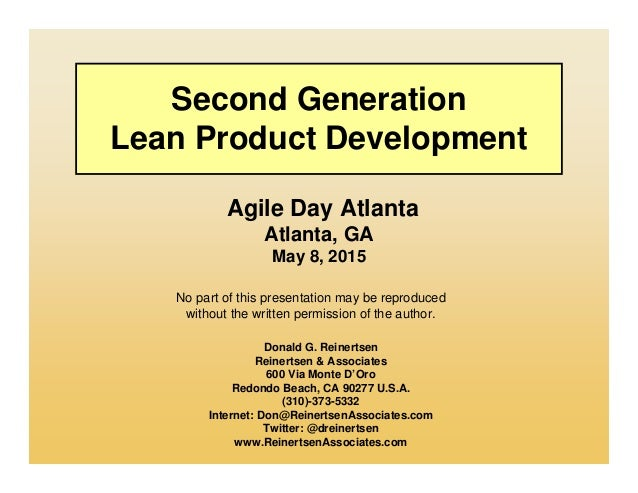 No part of this presentation may be reproduced without the written permission of the author. Second Generation Lean Produc...