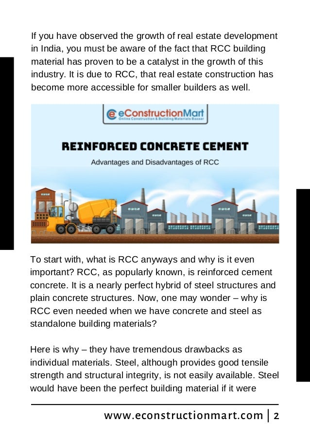 Reinforced Concrete Cement: Advantages and Disadvantages of RCC