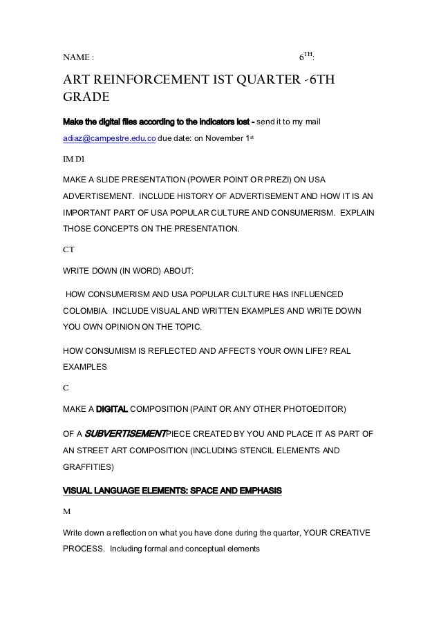 NAME :                                                               6TH:ART REINFORCEMENT 1ST QUARTER -6THGRADEMake the d...