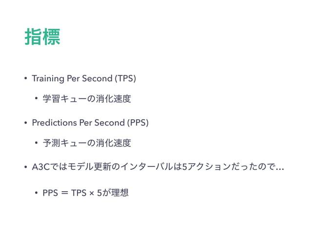 • Training Per Second (TPS) • • Predictions Per Second (PPS) • • A3C 5 … • PPS TPS × 5