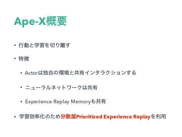 Ape-X • • • Actor • • Experience Replay Memory • Prioritized Experience Replay