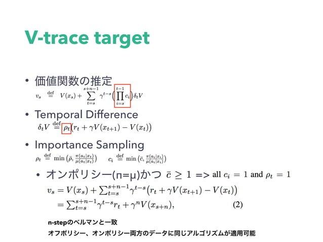 Importance Sampling • TD • • μ π • 0 behavior policy • target policy