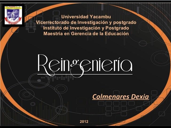 Universidad YacambuVicerrectorado de Investigación y postgrado   Instituto de Investigación y Postgrado   Maestría en Gere...