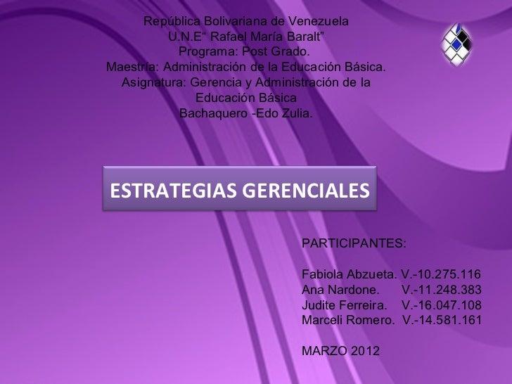 """República Bolivariana de Venezuela           U.N.E"""" Rafael María Baralt""""            Programa: Post Grado.Maestría: Adminis..."""