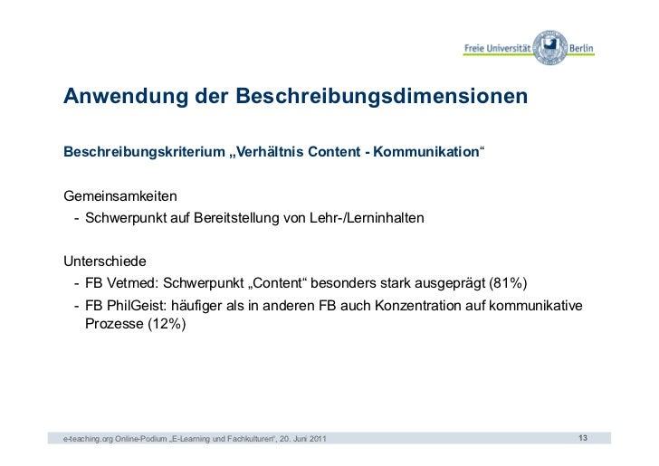 """Anwendung der BeschreibungsdimensionenBeschreibungskriterium """"Verhältnis Content - Kommunikation""""Gemeinsamkeiten   - Schw..."""