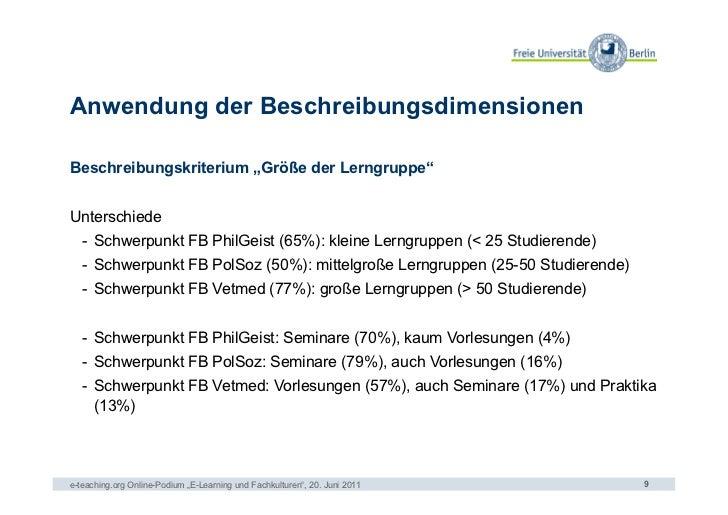 """Anwendung der BeschreibungsdimensionenBeschreibungskriterium """"Größe der Lerngruppe""""Unterschiede   - Schwerpunkt FB PhilGe..."""