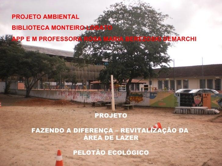 PROJETO AMBIENTALBIBLIOTECA MONTEIRO LOBATOAPP E M PROFESSORA ROSA MARIA BEREZOSKI DEMARCHI                     PROJETO   ...
