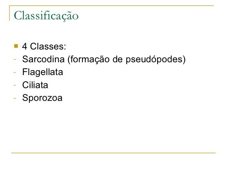 Classificação <ul><li>4 Classes: </li></ul><ul><li>Sarcodina (formação de pseudópodes) </li></ul><ul><li>Flagellata </li><...