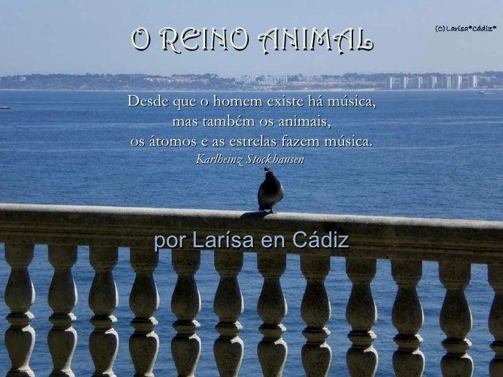 por Larísa en Cádiz Desde que o homem existe há música, mas também os animais,  os átomos e as estrelas fazem música. Karl...