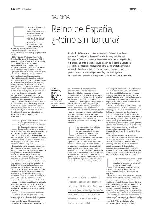 IritziaGARA 2011 5 6 ostirala 9 E l pasado 25 de marzo, el Comité para la Prevención de la Tortura (CPT) del Consejo de Eu...