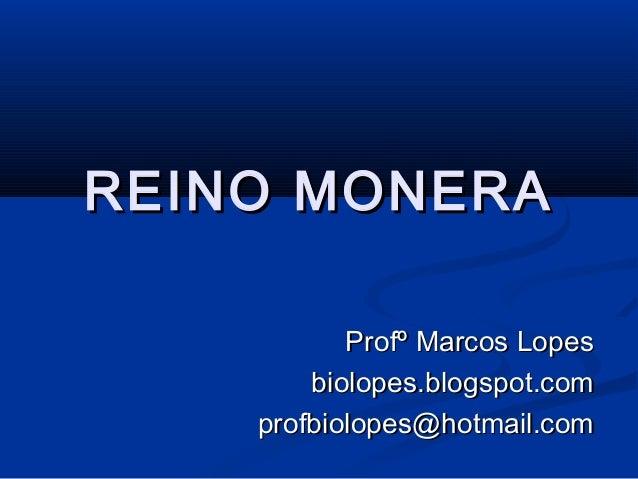REINO MONERA           Profº Marcos Lopes        biolopes.blogspot.com    profbiolopes@hotmail.com