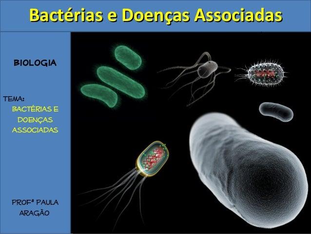 BBaaccttéérriiaass ee DDooeennççaass AAssssoocciiaaddaass  Biologia  Tema:  Bactérias e  doenças  associadas  Profª Paula ...