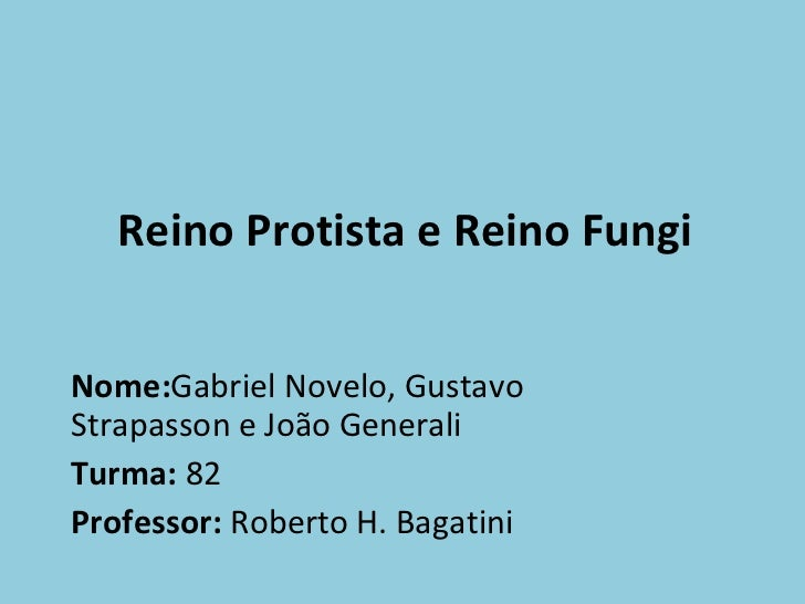 Reino Protista e Reino Fungi Nome: Gabriel Novelo, Gustavo Strapasson e João Generali Turma:  82 Professor:  Roberto H. Ba...