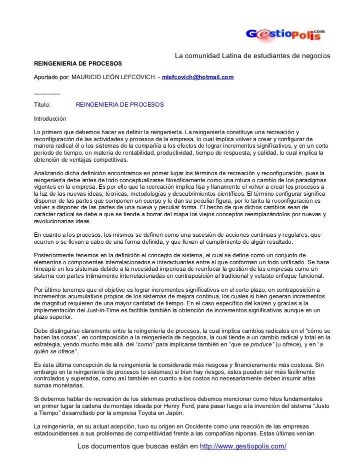 La comunidad Latina de estudiantes de negociosREINGENIERIA DE PROCESOSAportado por: MAURICIO LEÓN LEFCOVICH. - mlefcovich@...