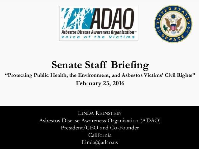 9th Adao Senate Staff Briefing Asbestos Impact On Public