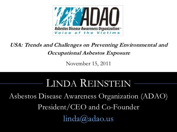 "Linda Reinstein: Linda Reinstein, ""USA: Trends And Challenges On Preventing"