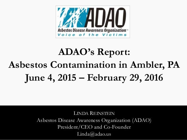 Linda Reinstein: Asbestos Contamination In Ambler, PA (Reinstein 2016