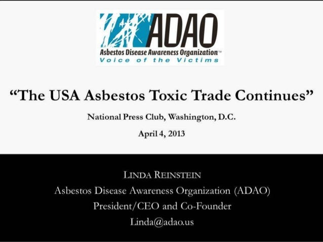 """Reinstein: """"The USA Asbestos Toxic Trade Continues"""""""