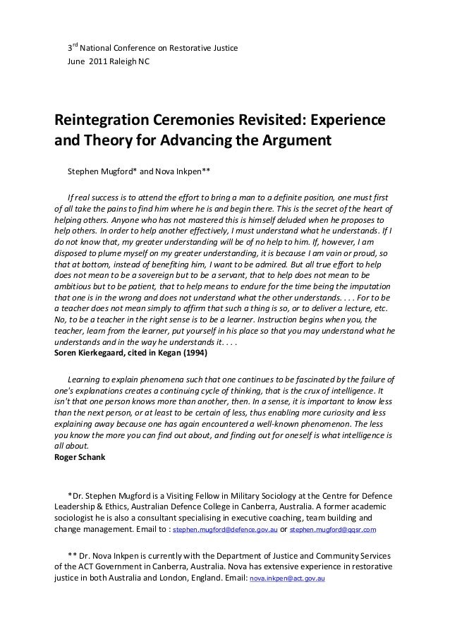 Reintegration ceremonies revisited (2)