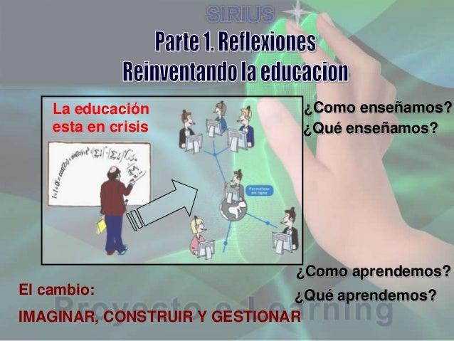 La educación esta en crisis  ¿Como enseñamos? ¿Qué enseñamos?  ¿Como aprendemos? El cambio:  ¿Qué aprendemos? IMAGINAR, CO...
