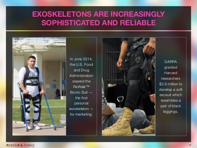 12 EXOSKELETONS ARE INCREASINGLY SOPHISTICATED AND RELIABLE In June 2014, the U.S. Food and Drug Administration cleared th...