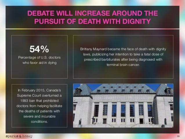 33 DEBATE WILL INCREASE AROUND THE PURSUIT OF DEATH WITH DIGNITY In February 2015, Canada's Supreme Court overturned a 199...