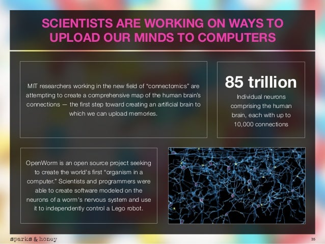 """35 SCIENTISTS ARE WORKING ON WAYS TO UPLOAD OUR MINDS TO COMPUTERS MIT researchers working in the new field of """"connectomic..."""